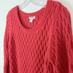 Old navy red waffle knit sweater S